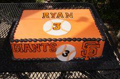 Orange and black SF Giants themed birthday sheet cake