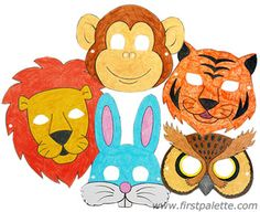 Yay, animal mask templates for colouring as a kids' party activity.