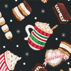 "Gingerbread Holiday  C8147-Black By Timeless Treasures: Gingerbread Holiday is a collection by Timeless Treasures.  100% cotton.  43/44"" wide.  This fabric features cups of hot cocoa, candy canes, smores, and skewers of marshmallows on a black background."