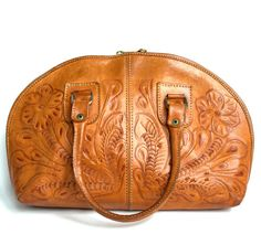 Vintage 70s Mexican Brown Tooled Leather by StarletsVintage