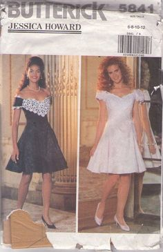 MOMSPatterns Vintage Sewing Patterns - Butterick 5841 Retro 90's Sewing Pattern DARLING Designer Jessica Howard Heavy Lace Trim Off the Shoulders Flared 80s Party Girl Cocktail Party Dress Size 6-12