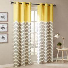 BEAUTIFUL-MODERN-GREY-YELLOW-BLUE-AQUA-CHEVRON-63-OR-84-CURTAIN-PANEL-SET-PAIR
