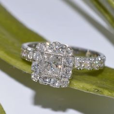 Art Deco Inspired Princess Cut Diamond Engagement Ring by JdotC, $1200.00