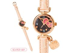 Hello Kitty Wrist Watch Face Shaped Charm Pink Gold SANRIO JAPAN
