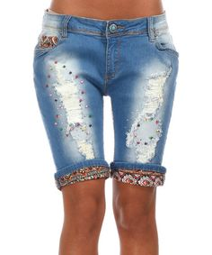 Love this Faded Blue Embellished Distressed Bermuda Shorts by Peace and Love on #zulily! #zulilyfinds