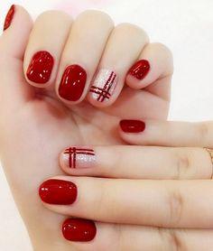 nails Elegant Wine red double line finished false nails,Silver flash powder short paragraph full Nail tips Patch,DIYart tool Red Nail Designs, Beautiful Nail Designs, Acrylic Nail Designs, Acrylic Nails, Matte Nails, Glamour Nails, Nagel Hacks, Xmas Nails, Easy Christmas Nails