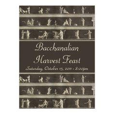 Elegant Bacchanalian Feast Neo-Classical Personalized Invitations