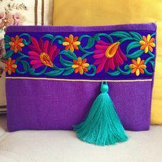 Purple Tassel Clutch Bohemian Handbag Bohobag by BOHOCHICBYDAMLA