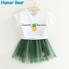 c06dd21e7a3 Summer Fashion Style Pineapple T-shirt +Dress Children 2pcs Set