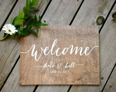 Wedding Welcome Sign Wooden Wedding Signs Wood by PaperandPineCo