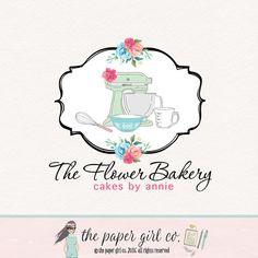 bakery logo design mixer logo design whisk logo by ThePaperGirlCo