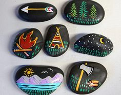 Outdoor Camping Wildlife Party Table Confetti Decorations Reusable Stones Favors Natural Camp Fire Woodland Scavenger Hunt Sleepover Tee Pee(girl scout badges)