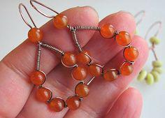 Wire wrap beaded earrings