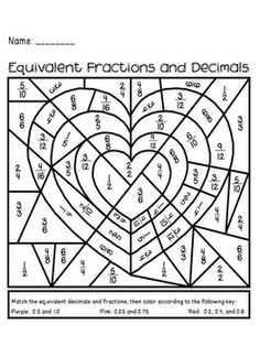 Valentine's Day Equivalent Fractions Activity. Great for