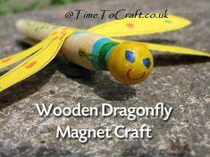 Wooden Peg Dragonfly Magnet