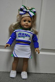 American Girl Doll Cheerleading Uniform!! Cutest thing ever! She can copy ANY cheerleader uniform to make a matching one for American Girl Dolls!