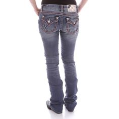 Miss Me Red & White Stitch Jeans