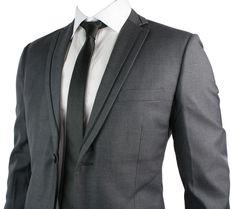 Mens Slim Fit Suit Charcoal Grey Black Trim Blazer Trouser Work Office Wedding P…