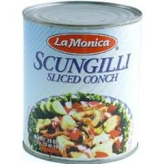 Scungilli. Despite the word on the label, scungilli are NOT conch.  They are whelk (a large sea snail).  Either way, they are delicious in a salad with onion, olive oil and lemon juice OR in tomato sauce, on pasta.