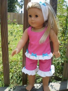 Pink short set made for  18 inch American by sassydollcreations