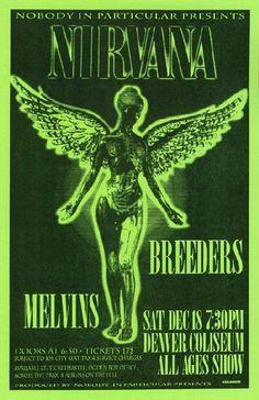 Concert poster for Nirvana st The Denver Coliseum in Denver, Colorado in 1993. 11x17 reprint on card stock paper.