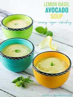 Chilled Lemon Basil Avocado Soup creamy avocado soup gets a summery kiss from lemon basil Chilled and refreshing Perfect for a light lunch summer appetizer or brunch sta. Avocado Soup, Ripe Avocado, Lemon Soup, Soup Recipes, Cooking Recipes, Chilled Soup, Soup Appetizers, Lemon Basil, Walnut Salad