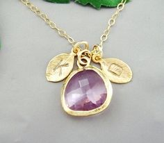 """Descriptions:  - Gold Fill chain. Total length is 16"""" and can be made shorter or up to 18""""  - Gold Fill findings  - TWO Initial leaf charms 0.40""""H  - Gold plated Brushed Bezel set Rose cut Amethyst Glass drop - approx. 0.6""""H x 0.5""""W (other color can be changed upon request)"""