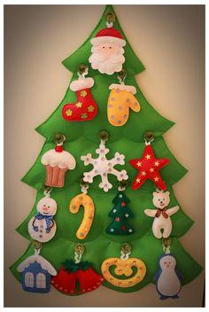 Развивающие новогодние игрушки Christmas Tree Advent Calendar, Christmas Trees For Kids, Felt Christmas Ornaments, Christmas Crafts For Kids, Handmade Christmas, Holiday Crafts, Christmas Diy, Felt Tree, Christen