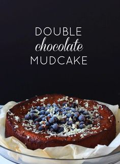 Double chocolate mudcake w/ blueberries - At Maria's Blueberries, Cakes, Chocolate, Breakfast, Photos, Food, Morning Coffee, Berry, Pictures