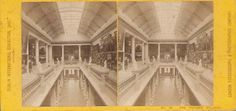 "View: London Stereoscopic & Photographic Company. This is a view from the Dublin International Exhibition of 1865. View says below right: ""No. 26. The Picture Gallery"". This is Dublin, Ireland. Grade: 6/7.  Yellow flat mount stereoview 1865. Some general wear. Price: $ 40 Ordering number: EXPO1001"