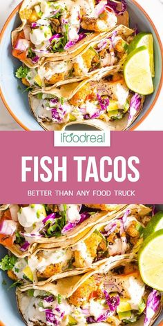 Fish Tacos Recipe - easy and healthy with crispy fish, veggies and the best crema with yogurt to keep calories in check. This fish tacos recipe is spicy, creamy and better than any food truck. Here's the complete recipe for my version of fish tacos. Mexican Fish Tacos, Baked Fish Tacos, Fish Tacos With Cabbage, Healthy Fish Tacos, Easy Fish Tacos, Cabbage Slaw, Tilapia Fish Tacos, Slaw For Fish Tacos, Slaw Recipes