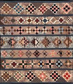 Wonderful row quilt! Made by Lizzie Jones in 1843
