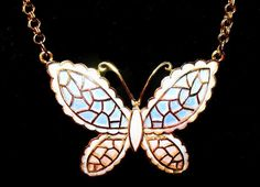 Butterfly Pendant Necklace Signed JJ Pink by BrightgemsTreasures