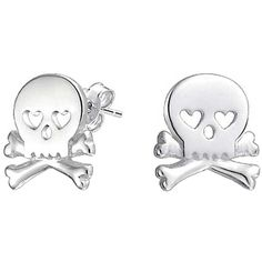 Bling Jewelry Bling Jewelry 925 Sterling Silver Goth Heart Skull And... ($17) ❤ liked on Polyvore featuring jewelry, earrings, silver tone, gothic jewelry, goth earrings, heart shaped earrings, sterling silver earrings and punk stud earrings