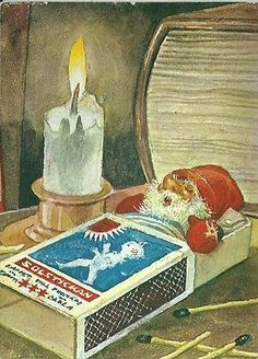 """""""The Match box"""" Postcard from a painting by Trygve M Davidson"""