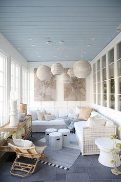 Sunroom inspiration, courtesy of Serena & Lily's Summit Design Shop - Home & DIY Furniture, House Design, Home, Porch Furniture, Small Sunroom, Beach House Interior, New Homes, House Interior, Interior Design