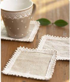 5pcs Pretty Quadrate Cotton & Linen Fabric Coaster Cup Mat with lace trim
