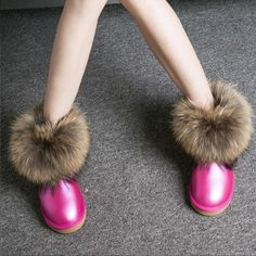Women Boots Genuine Leather Real Fox Fur Brand Winter Shoes Warm Black Round Toe Casual Plus Size Female Snow Boots De Fur Ankle Boots, Ankle Heels, High Heel Boots, Women's Boots, Winter Heels, Winter Boots, Snow Boots Women, Pink Shoes