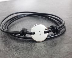 Semicolon Bracelet - Sterling Silver and Leather Wrap Bracelet - Suicide Awareness - Self Harm Awareness by CharitableCreations on Etsy https://www.etsy.com/listing/244990573/semicolon-bracelet-sterling-silver-and