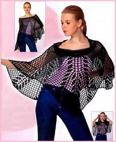 Crochet skirt-poncho — Crochet by Yana Crochet Cape, Knitted Cape, Filet Crochet, Crochet Shawls And Wraps, Beautiful Crochet, Crochet Clothes, Clothing Patterns, Crochet Patterns, Knitting Patterns