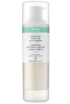 REN Clarifying Clay Cleanser - Combat the 3 key causes of breakouts and blemishes: excess sebum, the buildup of dead skin cells and blemish-causing bacteria... without harshness. This purifying, antibacterial cleanser deeply cleanses as it gently exfoliates and helps minimize the appearance of pore size leaving skin visibly clearer and calmer.