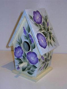 HAND PAINTED decorative BIRDHOUSE with One Stroke by MountBlossom, $39.00