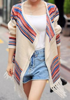 Winter causal Multicolor Stripes Knit Cardigan