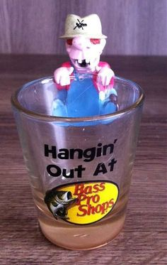 FUNNY HANGIN' OUT AT BASS PRO SHOPS HILLBILLY SHOT GLASS NEW