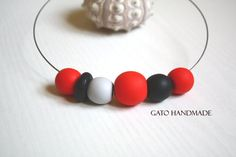 Unique red necklace/Polymer clay red beads/Red eye by GATODesign