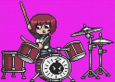 Kim Pine on the drums