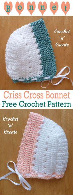 Pretty criss-cross baby bonnet, free crochet pattern part of criss-cross collection. #crochetncreate #freebabycrochetpatterns #crochetbabybonnet #freecrochetpatterns