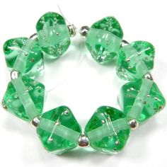 Crystal Lampwork Glass Bead Set Pale Emerald Green Fine Silver Wrapped | Covergirlbeads - Jewelry on ArtFire