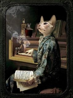 Anthropomorphic cat by piano (unknown artist)