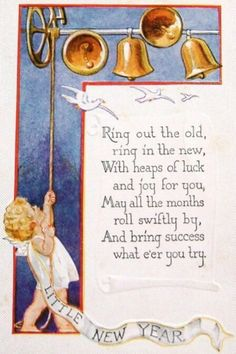 Vintage New Year Card: Angel ringing in the new year with bells and rhyming New Year Poem.